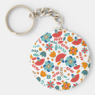 Colorful vintage floral seamless pattern basic round button key ring