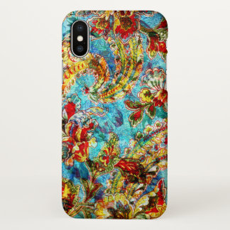 Colorful Vintage Flowers Collage iPhone X Case