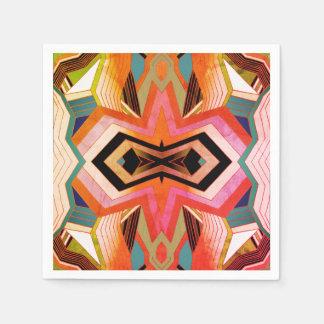 Colorful Vintage Geometric Vibes Paper Napkin