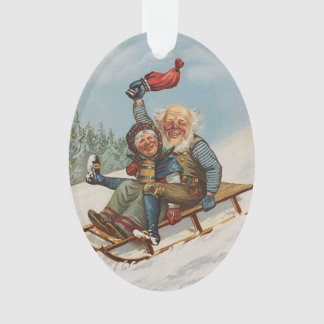 Colorful vintage gnomes on a sleigh decor