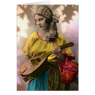 Colorful Vintage Gypsy Girl Card