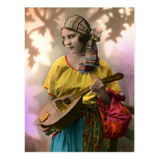 Colorful Vintage Gypsy Girl Postcard
