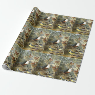 Colorful vintage illustration with multiple birds wrapping paper
