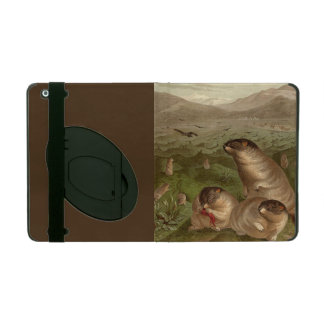 Colorful vintage marmot illustration case case for iPad