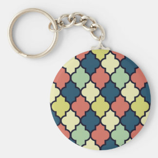 Colorful Vintage Moroccan Quatrefoil Pattern Basic Round Button Key Ring