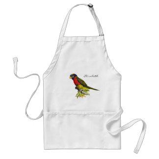 Colorful vintage parrot illustration standard apron