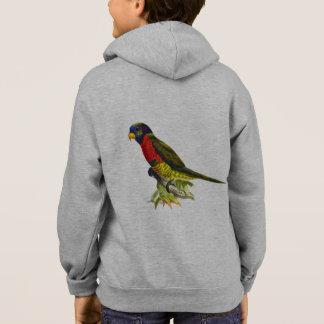 Colorful vintage parrot name kid's hoodie