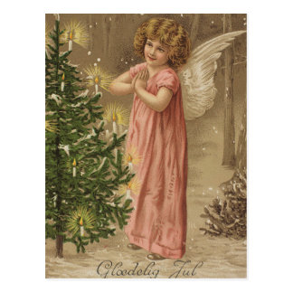 Colorful vintage pink Christmas angel card Postcard
