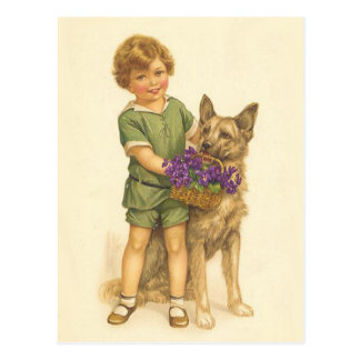 Colorful Vintage postcard of child and dog