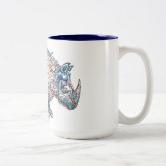 Colorful Vintage Rhino Illustration Two-Tone Coffee Mug