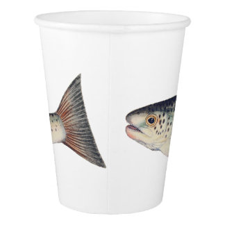 Colorful vintage salmon illustration cup