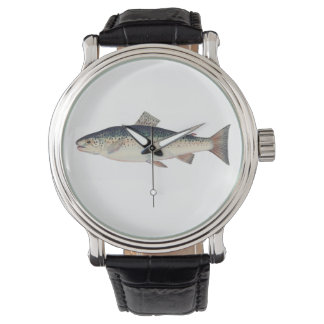 Colorful vintage salmon illustration watch