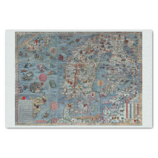 Colorful Vintage Scandinavia Old World Map Tissue Paper