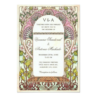 Colorful Vintage Wedding Invitations Art Nouveau