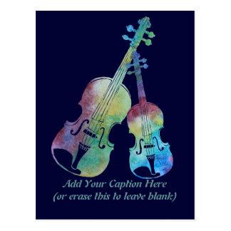 Colorful Violin and Viola Postcard