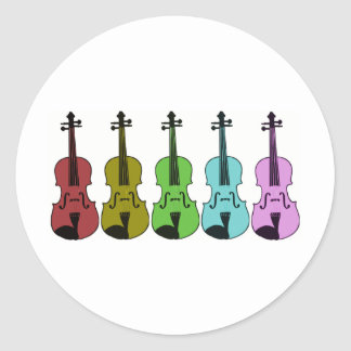 Colorful Violin Classic Round Sticker