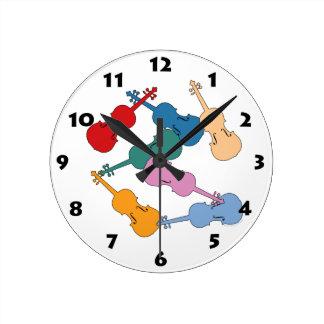 Colorful Violin Round Clock