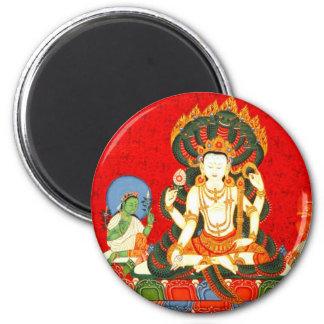 Colorful Vishnu Vintage Hindu Illustration Art 6 Cm Round Magnet
