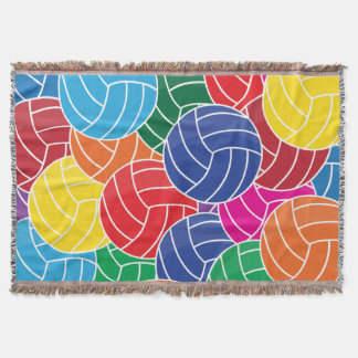 Colorful Volleyball Collage Throw Blanket