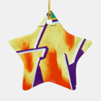colorful wall graffiti ceramic star decoration
