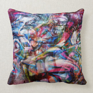 Colorful Wall Graffiti Illustration Cushion