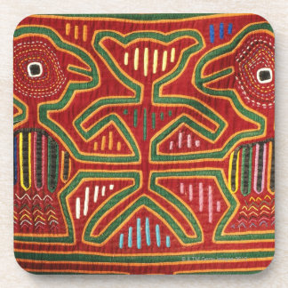 Colorful Wall Hanging of Cuna Indians 2 Beverage Coasters
