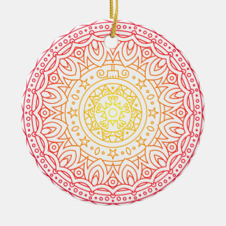 Colorful Warm Colors Mandala Circle Ornament