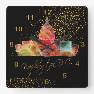 Colorful Washington DC Skyline Square Wall Clock