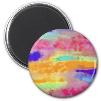 Colorful Watercolor abstract 6 Cm Round Magnet