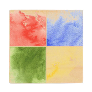 colorful watercolor background for your design wood coaster
