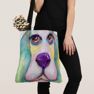 Colorful Watercolor Basset Hound Dog Big Eyes Tote Bag