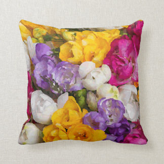 Colorful Watercolor Bouquet Fine Floral Throw Pillow