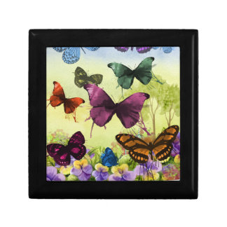 Colorful watercolor butterflies illustration small square gift box