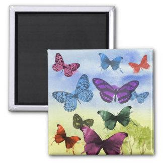 Colorful watercolor butterflies illustration square magnet