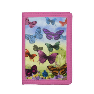 Colorful watercolor butterflies illustration tri-fold wallets