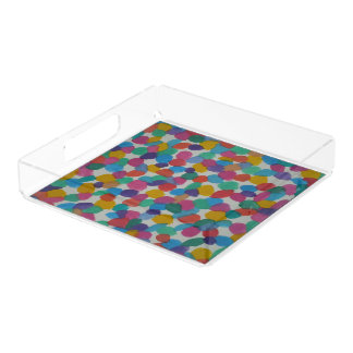 Colorful Watercolor Dots Acrylic Trays