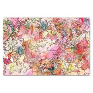 "Colorful Watercolor Floral Pattern Abstract Sketch 10"" X 15"" Tissue Paper"