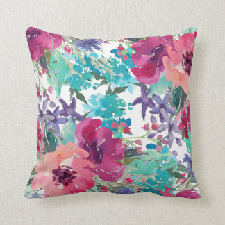 Colorful Watercolor Floral Pattern Throw Pillow