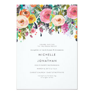 Colorful Watercolor Flower Wedding Invitation