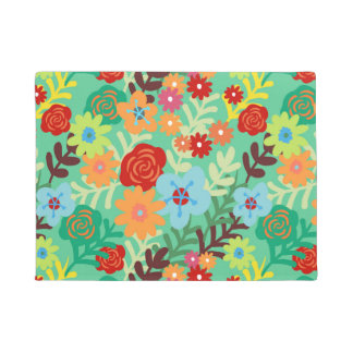 Colorful Watercolor Flowers Fine Floral Doormat