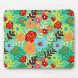 Colorful Watercolor Flowers Fine Floral Mouse Pad