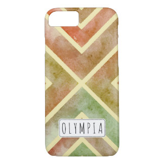 Colorful watercolor geometric stripes fall colors iPhone 7 case
