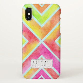 Colorful watercolor geometric stripes personalized iPhone x case