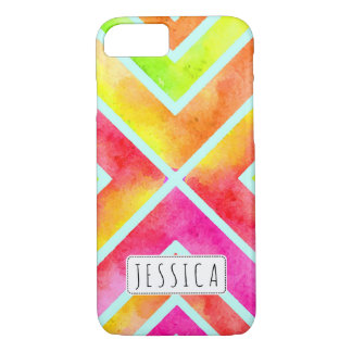 Colorful watercolor geometric stripes trendy iPhone 7 case