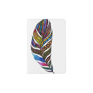 Colorful Watercolor Hand Drawn Tangle Feather Passport Holder