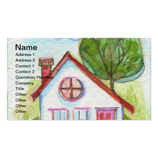 Colorful Watercolor House Business Cards