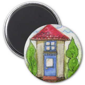 Colorful Watercolor House Painting 6 Cm Round Magnet