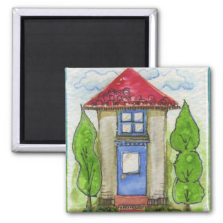 Colorful Watercolor House Painting Square Magnet