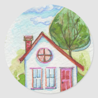 Colorful Watercolor House Round Sticker