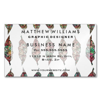 Colorful Watercolor Painted Geometric Feathers Magnetic Business Card